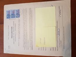TIMBRE FISCAL 2X100F + 40F BLEU SUR PROCURATION POSTALE - Revenue Stamps