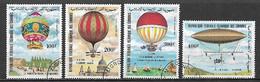 COMORES  1983 POSTA AEREA ASCENSIONE DELL'UOMO NELLA ATMOSFERA YVERT. 193-196 USATA VF - Isole Comore (1975-...)