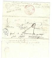 Paris 22 Juin 1833 Réexpédié Avec Double Cursive De Châtillon MontRouge + Cachet à Date T 12 En Rouge De Fontenay - Postmark Collection (Covers)