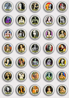 35 X The Munsters LILY Movie Film Fan ART BADGE BUTTON PIN SET 4 (1inch/25mm Diameter) - Films