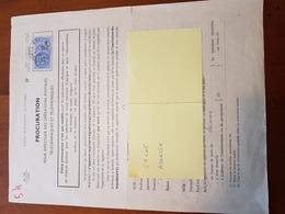 TIMBRE FISCAL 2,5 NF BLEU SUR PROCURATION POSTALE - Revenue Stamps