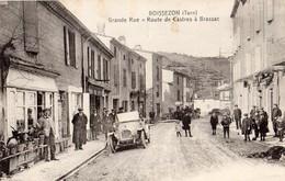 Boissezon  81   La Grande-Rue-et Route De Castres A Brassac Tres Tres Animée-Voiture-Epicerie Et Café - Francia