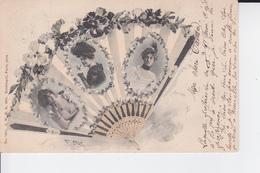 CP De 1901 Représentant Un éventail Fleuri Avec Des Personnalitées  ( Reutlinger N°1351 1900 ) - Illustratoren & Fotografen