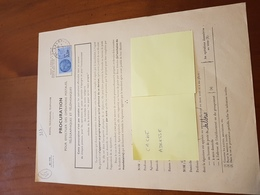 TIMBRE FISCAL 2,5 NF BLEU SUR PROCURATION POSTALE - Postzegels