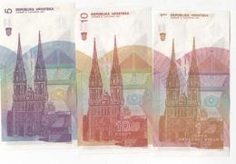 B29- CROATIE Lot De 3 Billets 1991 - Croatie