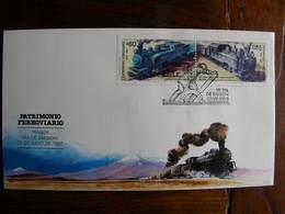 Chili 1988 FDC Locomotive Vapeur Steam Train  Patimonio Ferroviario Chile - Trains