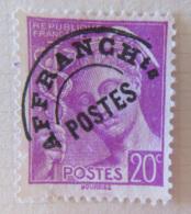 Timbre Préoblitéré YT N°78 20c Lilas Mercure, Variété E Avec Crochet - 1893-1947