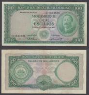Mozambique 100 Escudos 1961 (VF) Condition Banknote P-109 - Mozambique