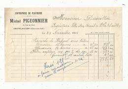 Facture , Platerie, Michel PIGEONNIER , CHATELAILLON , Charente Inférieure , 1935, Frais Fr 1.55 E - France