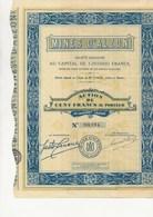 """MINES D'ALZON - GARD- ACTION DE 100 FRANCS  - 1929- """"MINES DE PLOMB ET ZINC - - Bergbau"""