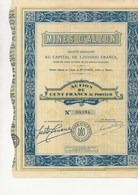 "MINES D'ALZON - GARD- ACTION DE 100 FRANCS  - 1929- ""MINES DE PLOMB ET ZINC - - Mines"