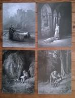 Lot De 4 Cartes Postales Grand Format / Gravure De Gustave Doré / Aux Vents De Rouyaumes - Artisanat