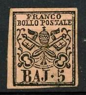 STATO PONTIFICIO-1852-Catalogo Sassone N° 6A-5 Baj Nuovo Senza Gomma - Stato Pontificio