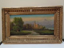 Antiguo Cuadro Al Oleo Con Paisage Y Un Castillo. Firmado A. Bossi. Italia. - Huiles