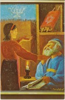 Morris Katz Artist Signed Rabbi And Girl Have Lesson, C1960s Vintage Postcard - Jewish
