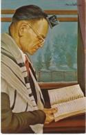 Morris Katz Artist Signed 'Elia' Man Reading Book, Jewish Hebrew New Year Greeting, C1960s Vintage Postcard - Jewish
