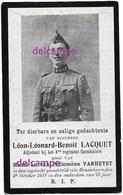 OORLOG GUERRE Leon Lacquet Leuven Soldaat Adj GESNEUVELD Te Ruiter / Roeselare Okt 1918 Vanheyst Brugge - Images Religieuses