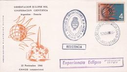 OBSERVACION ECLIPSE DE SOL COOPERACIN CIENTIFICA ARGENTINA~FRANCIA SPECIAL COVER 1966 RESISTENCIA, CHACO-AUTRES..- BLEUP - Astronomy