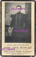 OORLOG GUERRE Egide Delplace Ternat Soldaat Gesneuveld Te Adinkerke ( Buikwonde ) Okt 1914 Van De Gucht Grenadier - Images Religieuses