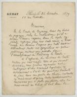 LàS 1879 Armand-Félix Fresneau , Sénateur Du Morbihan , Gendre De La Comtesse De Ségur . Royalisme . Contre-révolution . - Autographes
