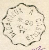 CACHET AMBULANT  - BEDARIEUX A CASTRES SUR CPA BONNE FETE - Marcophilie (Lettres)
