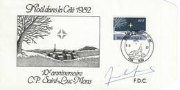 Belgique, Noël, Autographe De Jean-Marie Lenfant Dessinateur COB N° 2067 - FDC