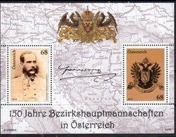 AUSTRIA, 2018, MNH,BEZIRKSHAUPTMANNSCHAFTEN IN AUSTRIA, DISTRIC COMMISSIONS, FRANZ JOSEPH, COAT OF ARMS, EAGLES, S/S - History