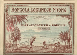 BONGOLA LOKUNDJE N'YONG - DOUALA - CAMEROUN -PART DE FONDATEUR  ILLUSTREE-1927 - Afrique