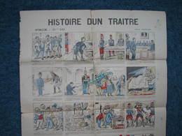 """Affiche Des Années 1895/01896 """" HISTOIRE D'un TRAITRE"""" Affaire DREYFUS En 16 Tableaux + Chanson Ile Du Diable TBE - Manifesti"""