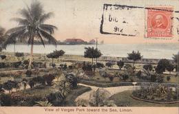 CPA  Costa Rica - View Of Vargas Park Toward The Sea, Limon - 1913 - ETAT Moyen!! - Costa Rica