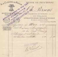 PETITE FACTURE A LA CLOCHE DU ROULE - QUINCAILLERIE OUTILLAGE - MAISON  ED PRUD'HOMME Paris - France