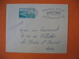 Lettre   Monaco  1952   - Grand Prix Automobile   Monté-Carlo - Postmarks