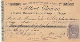 Lettre Change 3/5/1889 Albert GOURDIN Pépinières ST HIPPOLYTE Du Fort Gard - Alriq Figeac Lot - Recouvrements Poste - Lettres De Change