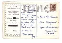 Billet Embarquement Bateau Italie Tessera Libera Circolazione Generale Arona Cannobio 1956 - Billets D'embarquement De Bateau