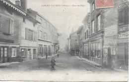 69 SAIN BEL Les Mines Place Du Puits   1906 Photo Delorme L'Arbresle Dos Scanné - Autres Communes