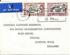 Nigeria Cover Sent Air Mail To England Lagos 23-6-1960 - Nigeria (...-1960)