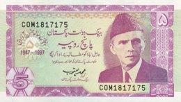 Pakistan 5 Rupees, P-44 (1997) - UNC - 50 Years Pakistan - Pakistan