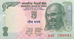 """India 5 Rupees, P-88Ac - UNC - """"R"""" - Sign. 88 - Indien"""