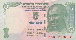 """India 5 Rupees, P-94Ad (2010) - UNC - """"L"""" - Indien"""