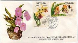 Cover   COLOMBIA, Orchid    /  Envelope   La COLOMBIE, Orchidée   1967 - Orchidées