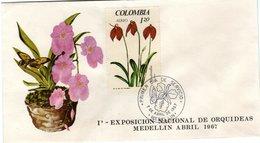 FDC,   COLOMBIA,    Orchid    /  Lettre De Première Jour,   La COLOMBIE, Orchidée   1967 - Orchidées