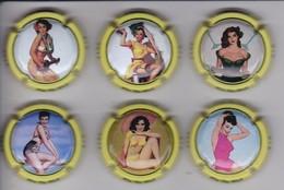 SERIE COMPLETA DE 6 PLACAS DE CAVA DE MUJERES PIN UP (CAPSULE) MUJER-WOMAN - Placas De Cava