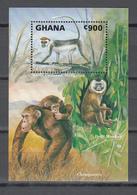 Ghana 1993,1V In Block,monkeys,apen,affen,singes,monos,scimmias,,MNH/Postfris,(L3443) - Apen