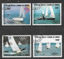 COMORES  1983 POSTA AEREA PREOLIMPIADI DI VELA YVERT. 197-200 USATA VF - Isole Comore (1975-...)