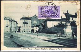 CARTOLINA - CV836 PAVIA Piazza Ghisleri E Monumento A Pio V, FP, Viaggiata 1929, Buone Condizioni - Pavia