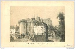 28 CHARTRES. Porte Guillame 1908. Carte Style Parchemin Papier Velin Découpe à La Ficelle - Chartres