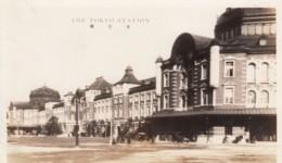 Tokyo Japan Main Train Railroad Station, Autos, Architecture C1920s/30s Vintage Photo - Trains