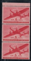 Sc#C25a, 6c Airmail 1943 Issue, MNH Booklet Pane Of 3 US Postage Stamps - Air Mail