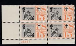 Sc#C58, 15c Airmail Statue Of Liberty 1959 Issue, Unused Original Gum Plate # Block Of 4 US Postage Stamps - Air Mail
