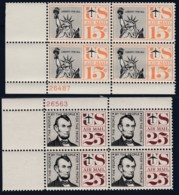 Sc#C58 & C59, 15c & 25c Airmail, Liberty & Lincoln 1959 Issue, Two Plate # Blocks Of 4 US Postage Stamps - Air Mail